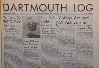 Front page of Dartmouth Log, August 10, 1945
