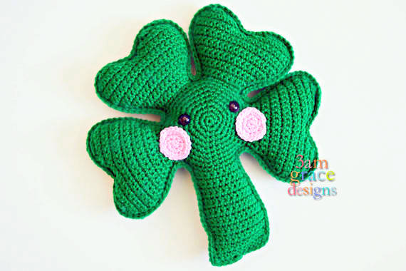 shamrock clover Kawaii Pillow Cuddler Crochet Pattern