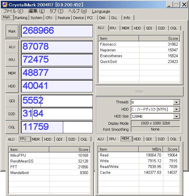 RYZEN(RYZEN 5 1400)ベンチマークCrystalMark2004R7結果