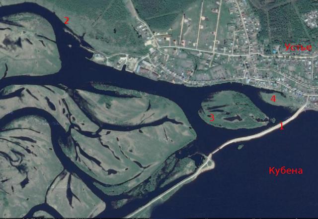 Схема мест рыбалки с берега