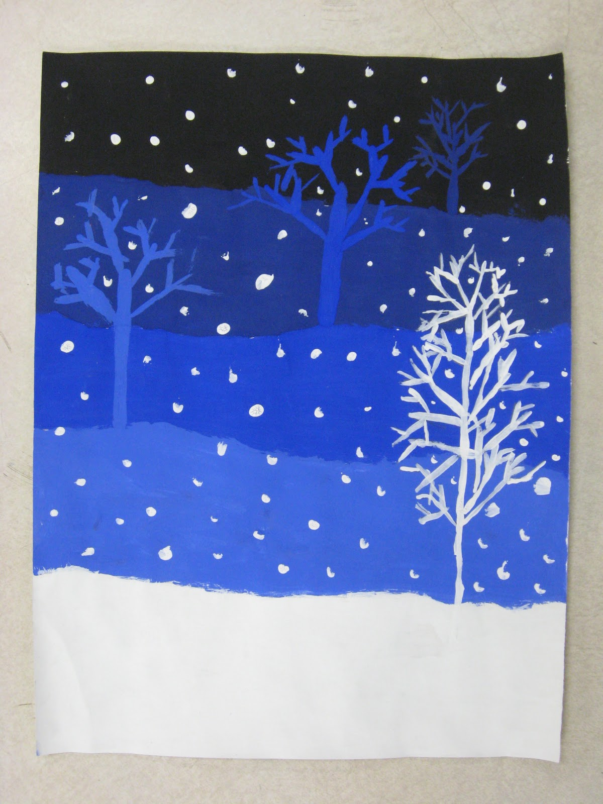 Miss Young S Art Room 4th Grade Value Snowy Landscapes