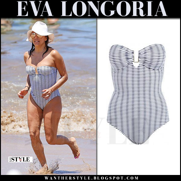 Eva Longoria in striped one piece swimsuit melissa odabash what she wore april 2017 beach style