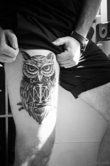 Thigh Owl Tattoo for Men