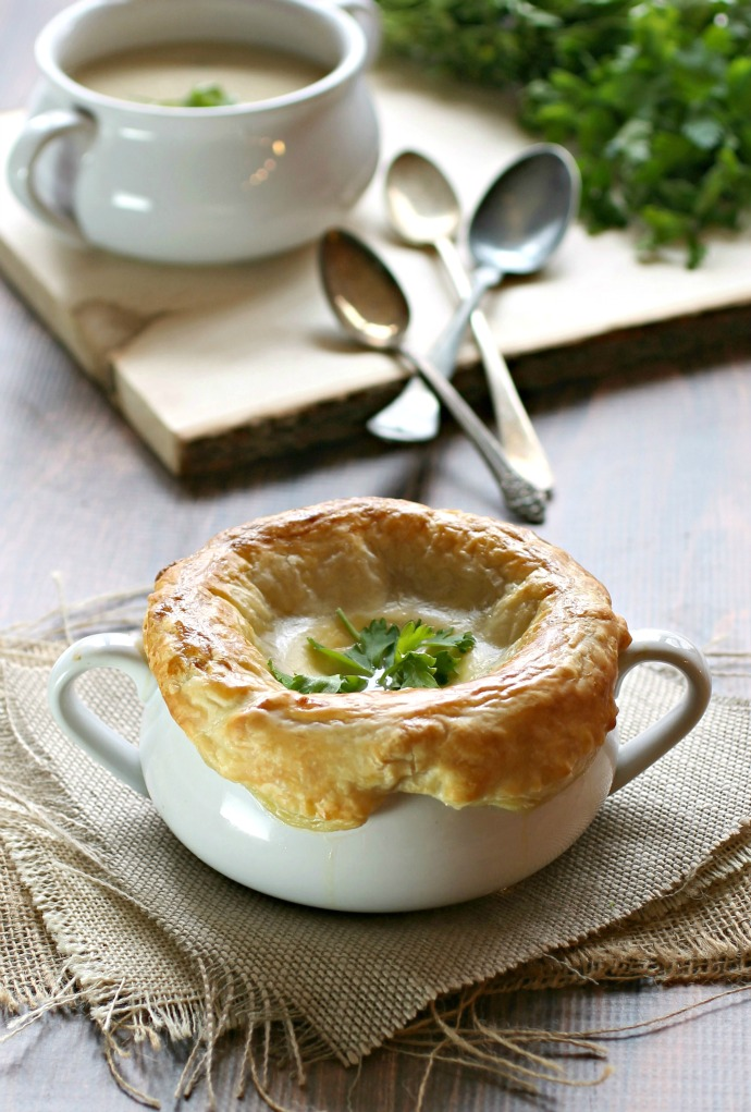 Onion and Smoked Gouda Bisque with Puff Pastry