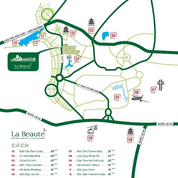 bản đồ vị trí dự án la beaute' bảo lộc