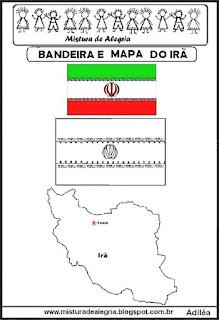Bandeira e mapa do Irã