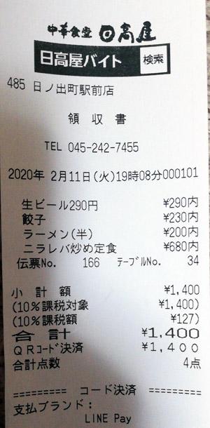 日高屋 日ノ出町駅前店 2020/2/11 飲食のレシート