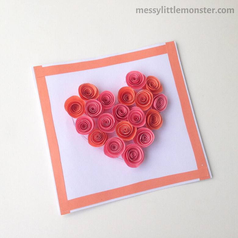 Paper rose heart craft for kids