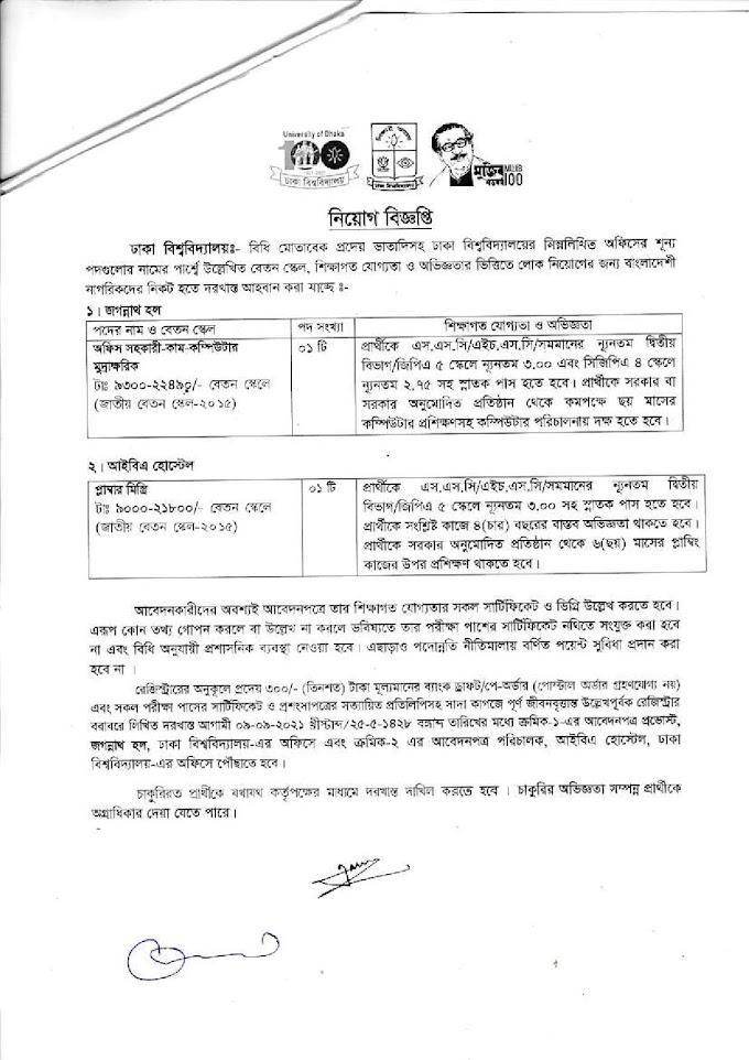 University of Dhaka Job Circular 2021
