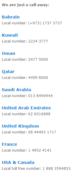 Gulf Air Customer Care Call Center Phone Number