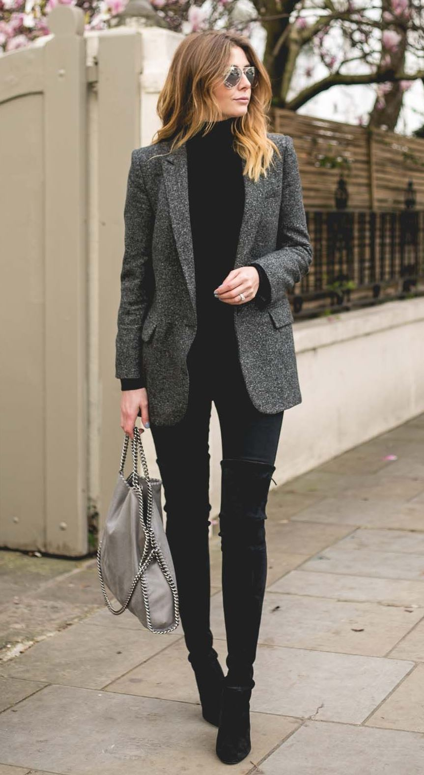 how to style a blazer : top + skinnies + bag + over knee boots