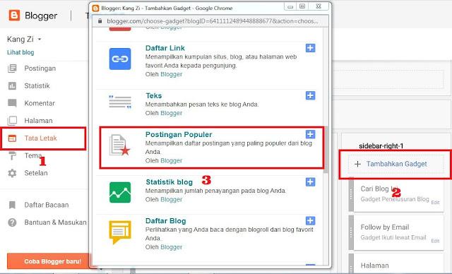 Menambahkan Gadget Postingan Populer - Tutorial Membuat Blog