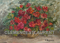 Vermilion roses in a vase, 5 x 7 oil painting by Clemence St. Laurent