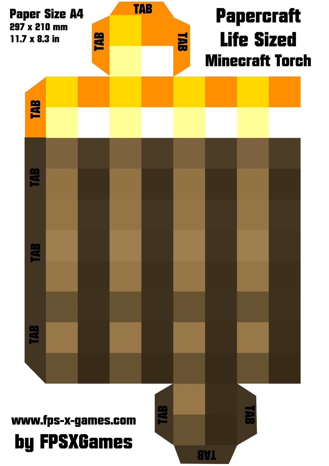 Printable papercraft cut out minecraft life sized torch for Minecraft cut out templates