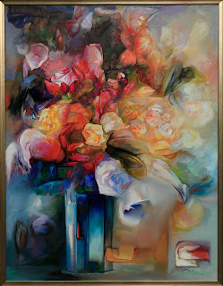 Kwiaty w szklanym wazonie, obraz olejny