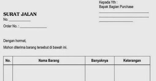 Contoh Surat Niaga Contoh Faktur Surat Jalan Dan Kwitansi Barang