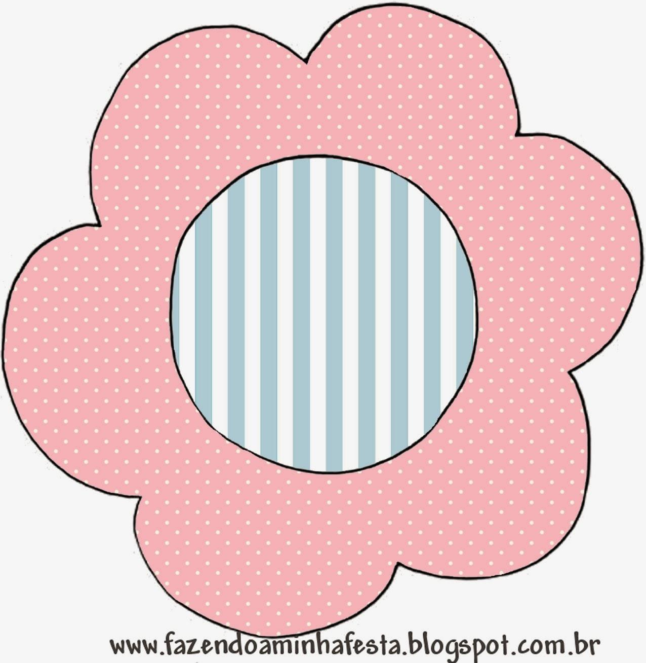 Toppers o Etiquetas de Rosado, Blanco y Celeste para imprimir gratis.