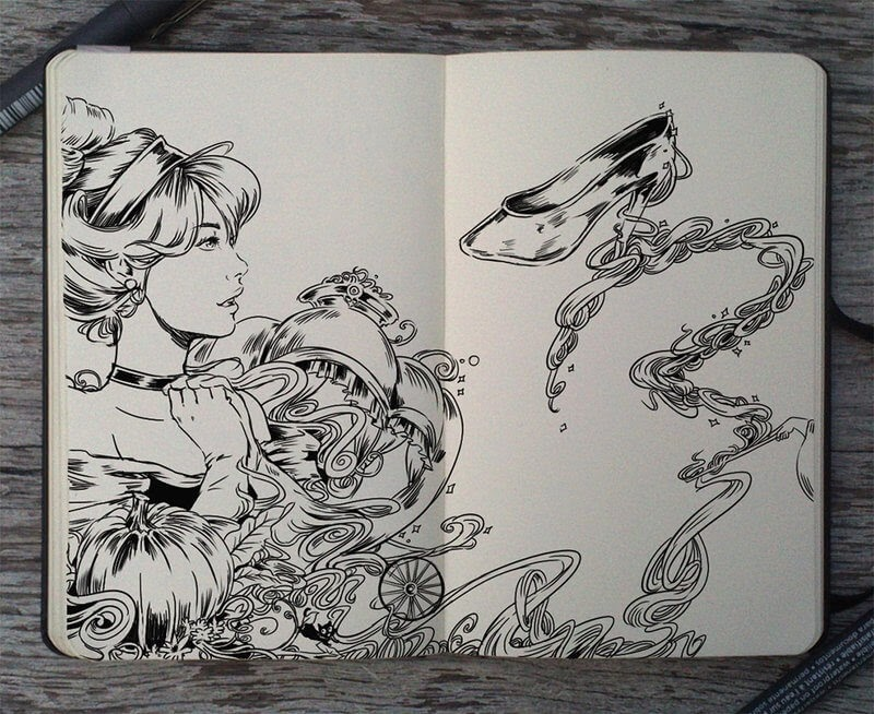 01-Cinderella-Gabriel-Picolo-Disney-Fantasy-Ink-Drawings-in-Moleskine-Illustrations-www-designstack-co