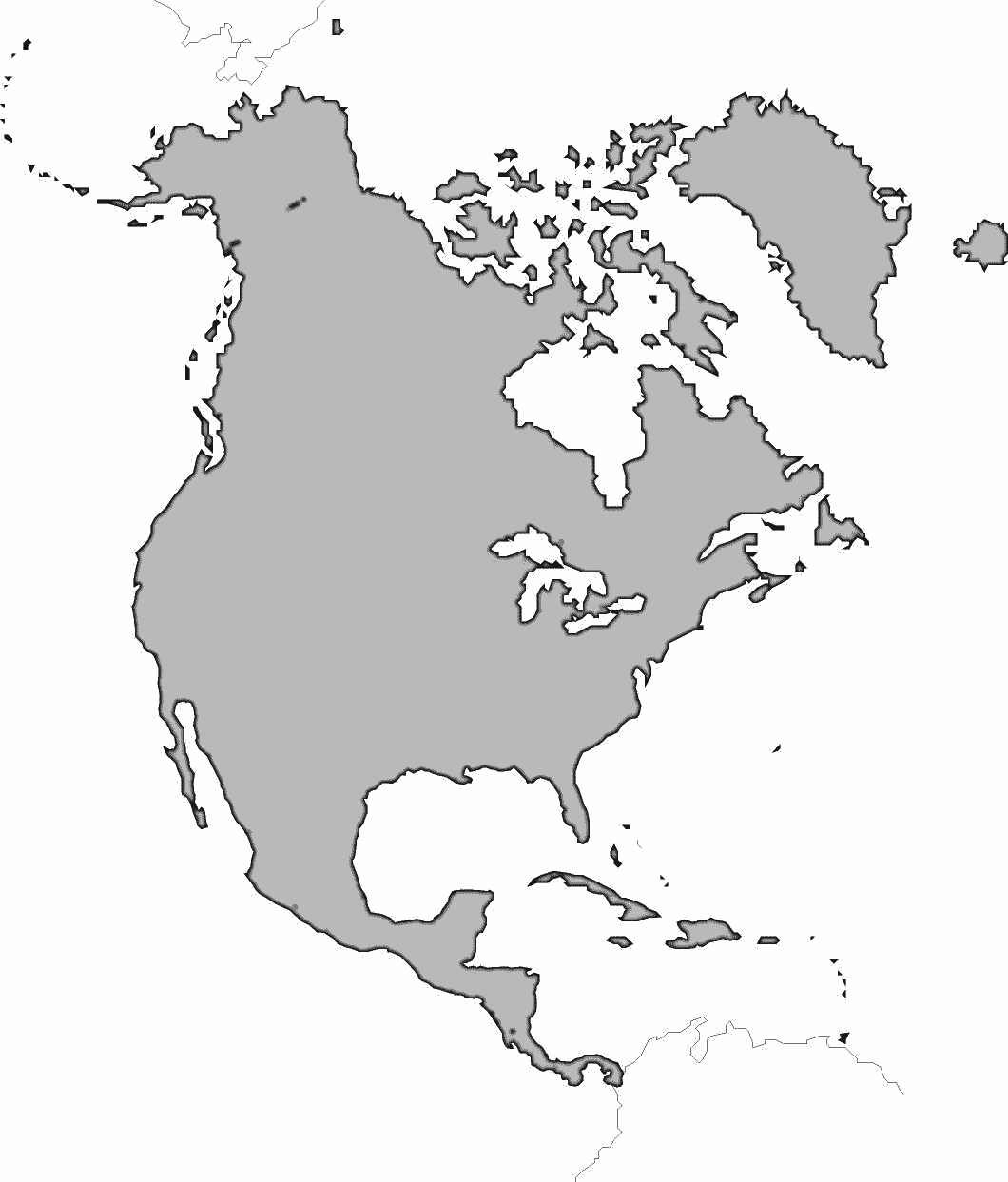 Blank Map Of North America