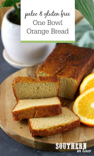 One Bowl Paleo Orange Bread Recipe - healthy, low carb, gluten free, grain free, coconut flour recipes, easy paleo desserts