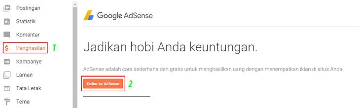 klik menu penghasilan yang sudah muncul tadi lalu klik tombol Daftar ke Adsense.