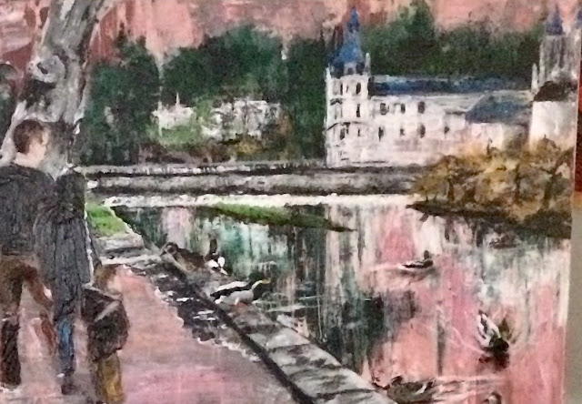 peinture acrylique de Karine Babel, les canards à Brantôme