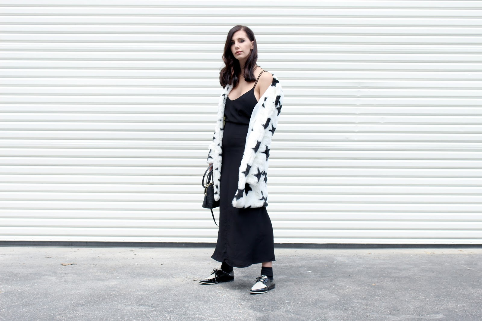 slip dress, spring 2016, street style, spring outfit, faux fur jacket, star print, star jacket, loafers, socks and heels, socks and loafers, mules, mini bag, pajama dressing, tourdestfu