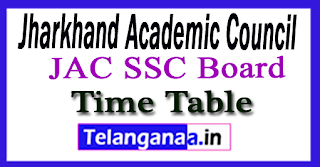 Jharkhand 10th Exam Time Table 2018
