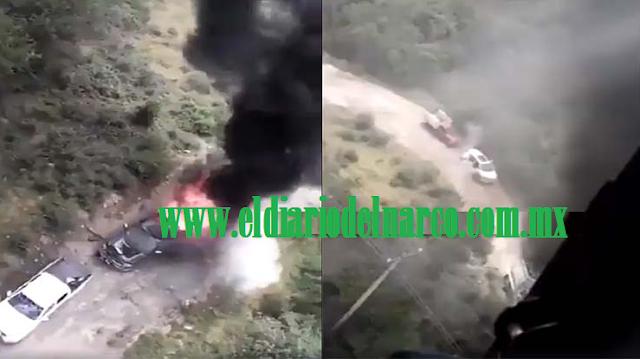 VIDEOS; Helicóptero militar artillado revienta con una Minigun las camionetas de criminales que arden tras recibir cientos de disparos