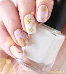 White Nail Art And Gold