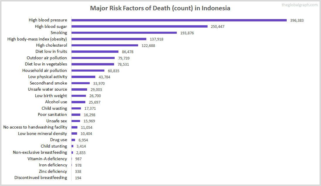 Major Cause of Deaths in Indonesia (and it's count)