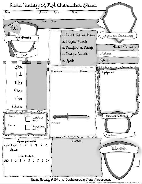 Basic Fantasy RPG Cleric Generator