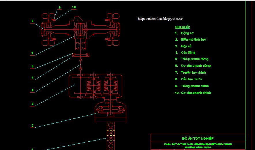 Bản vẽ hệ thống phanh trên xe nâng hàng FG70-7
