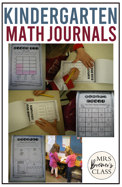Kindergarten Math Journals for daily practice of math skills like counting, graphing, shapes, patterns and more Common Core math activities