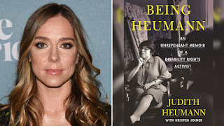 A picture of director Siân Heder, a white woman with medium-length light brown hair. A picture of the book Being Heumann