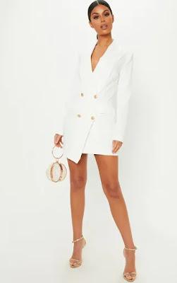 White Gold Button Blazer Party Dress