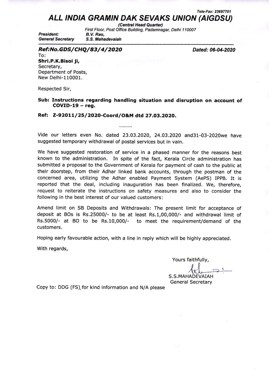 Instructions regarding handling situation and disruption on account of COVID-19 – GDS.