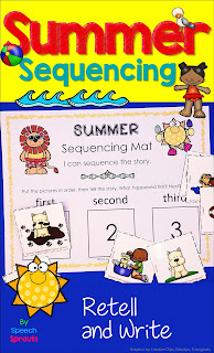 Sequencing picture cards and mat for summer speech therapy