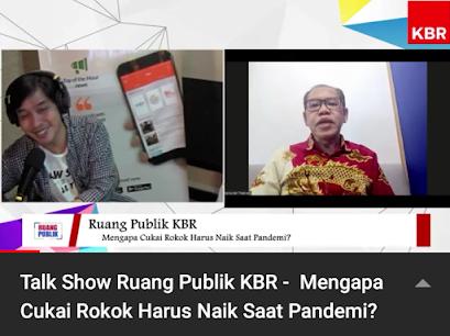 Talk show Ruang Publik KBR, Hasbullah Tabrany Ketua Komnas Pengendalian Tembakau