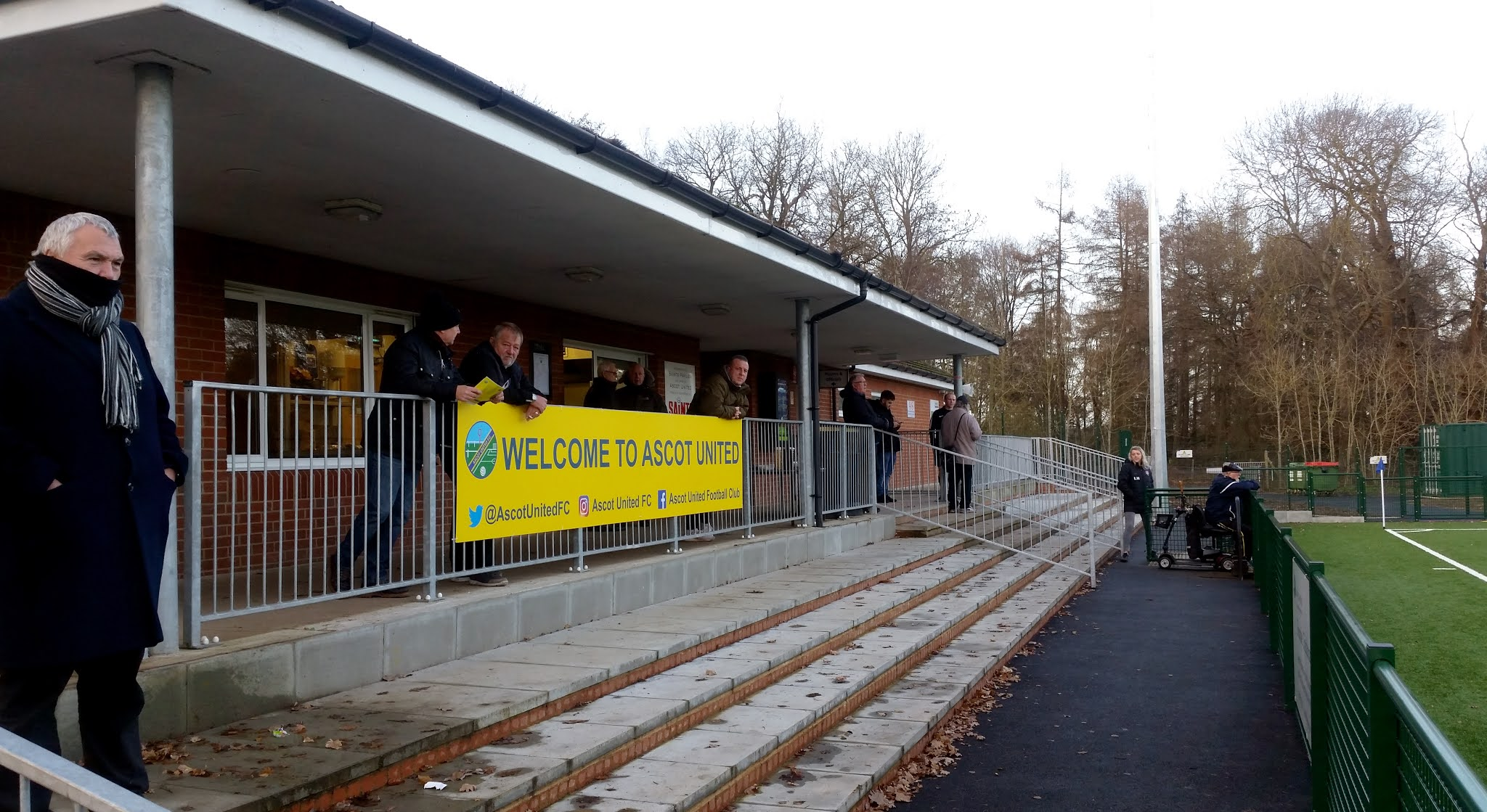 The clubhouse exterior at Ascot United's Racecourse Ground