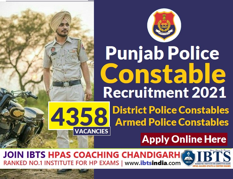 Punjab Police Constable Recruitment 2021: Apply Online for 4358 District Police, Armed Police Constables