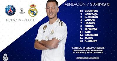Real Madrid Starting XI vs PSG in Paris