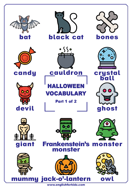 Halloween vocabulary words on printable posters