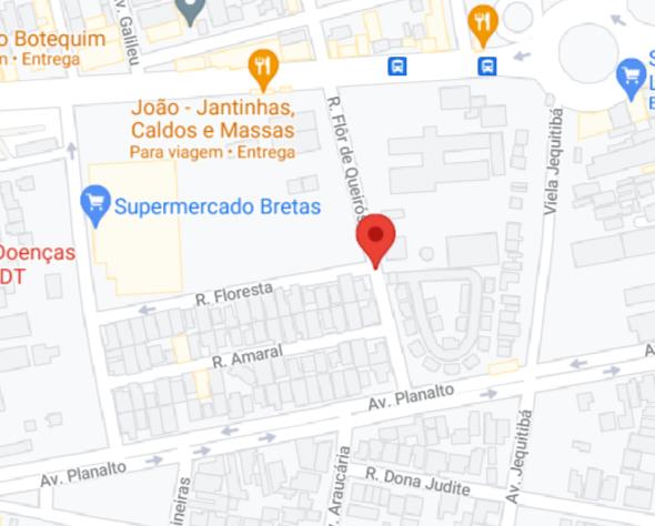 Vila Legionárias sem mapa no Google