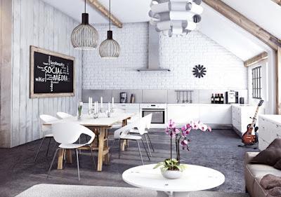 Trang trí nhà cùng với tường gạch trắng theo phong cách khác biệt