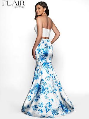 Sweetheart Flair Print Mikado Design Royal blue prom dress