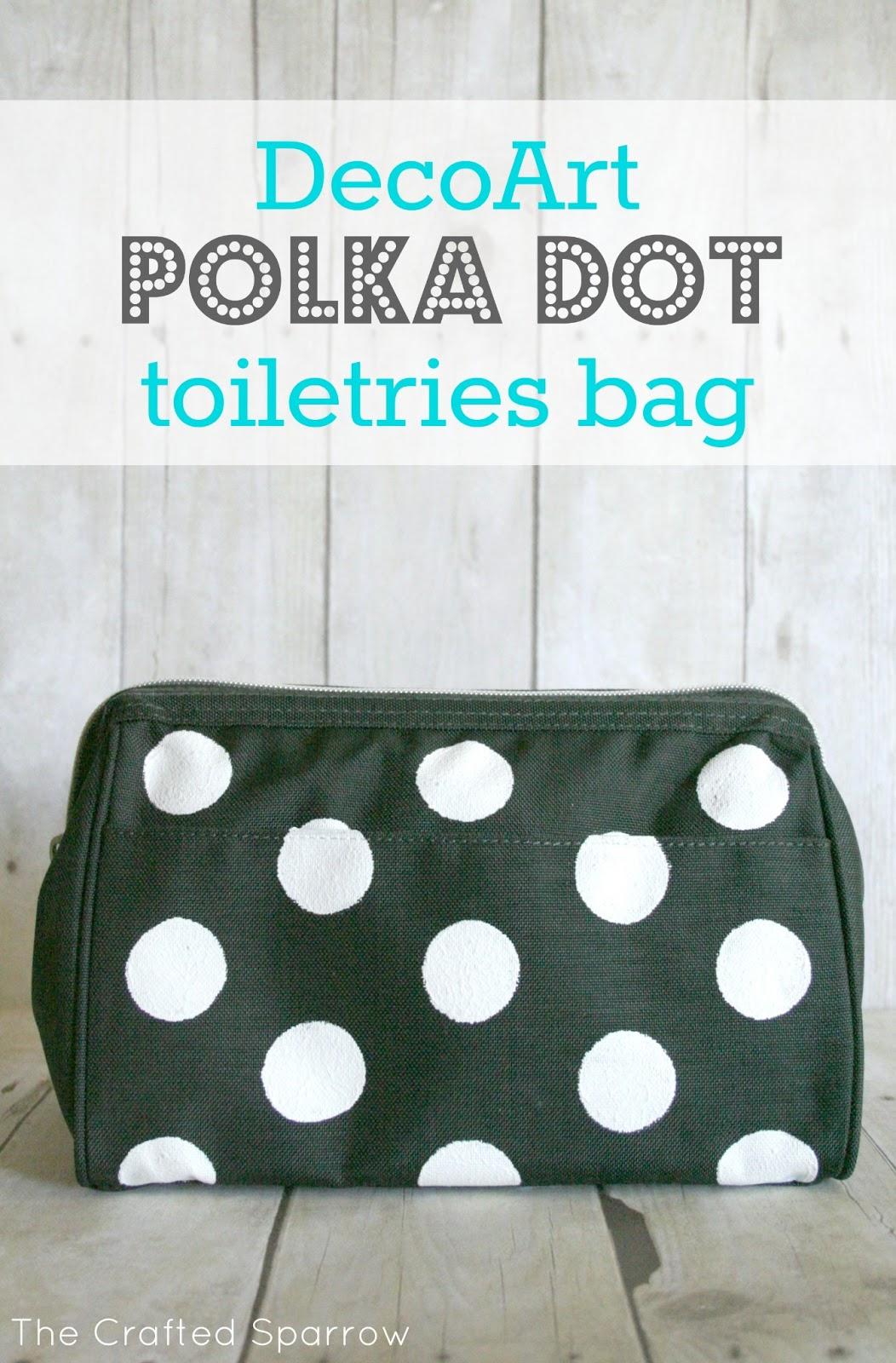 78e532ba4758 DecoArt Polka Dot Toiletries Bag - The Crafted Sparrow