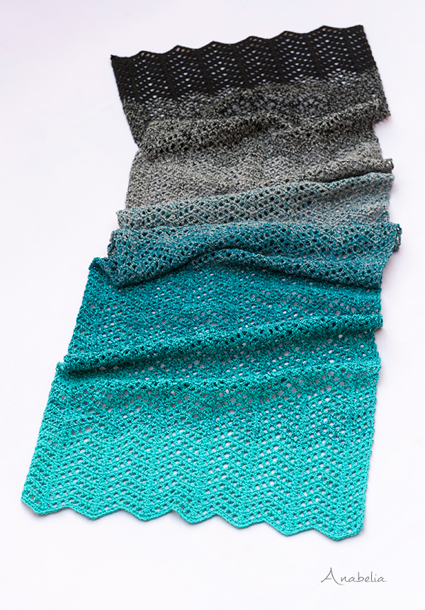 Light chevron stitch scarf, Free Pattern, Anabelia Craft Design