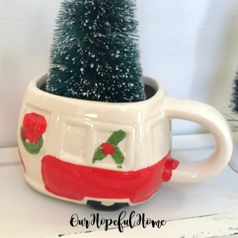 ceramic red camper mug wreath green tree