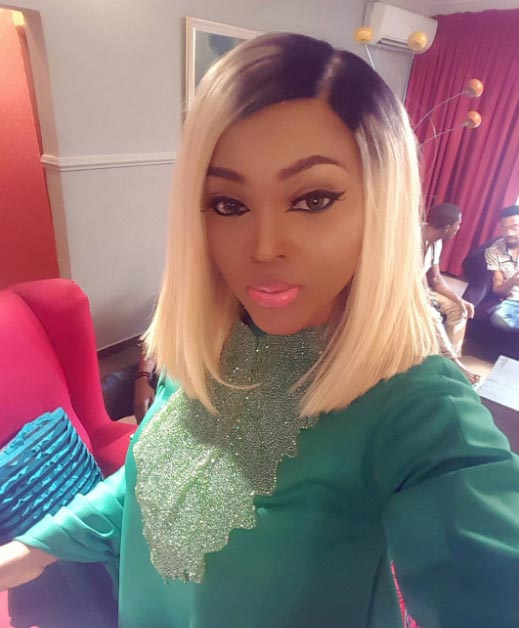 Mercy Aigbe dazzles in green mini gown